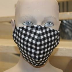 Masque hygiénique carreaux noir et blanc